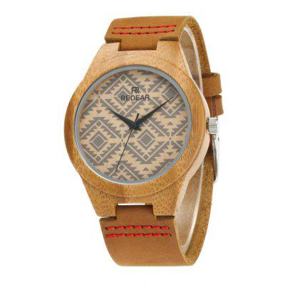 Classic Leather Strap Wristwatch Natural Bamboo Quartz Couple Watch