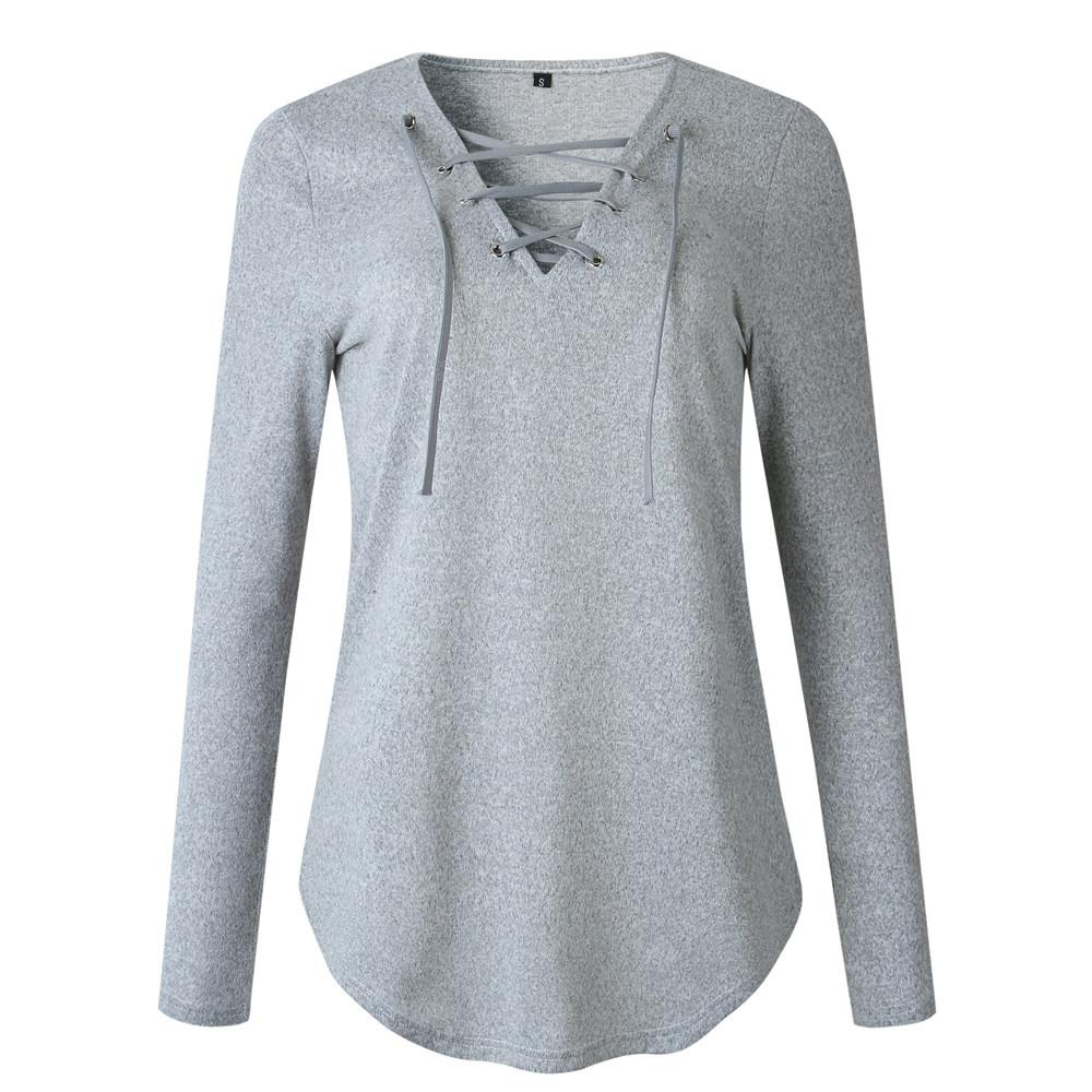 Womens V Neck Solid Color Cut Out Bandage Long Sleeve Loose Fashion