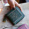 Winter New Style The Rivet Tassel Lady'S Purse Fold Your Handbag in Half - DEEP GREEN
