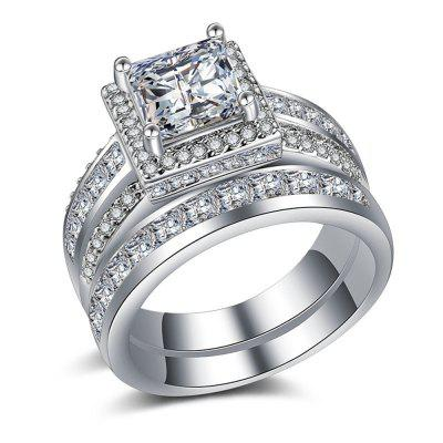Hot Style Pair Ring Wedding Engagement Ring Gold-Plated Silver Couple Ring