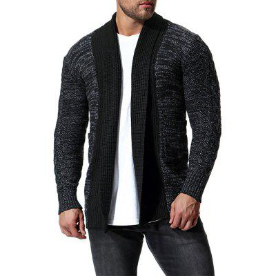 Men's Casual Cardigan Contrast Long Sleeve Mid-length Sweater
