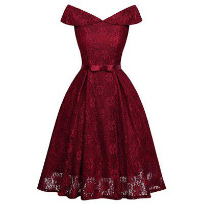 Women's Dress With Shoulder Bow And Lace Pendant Dress