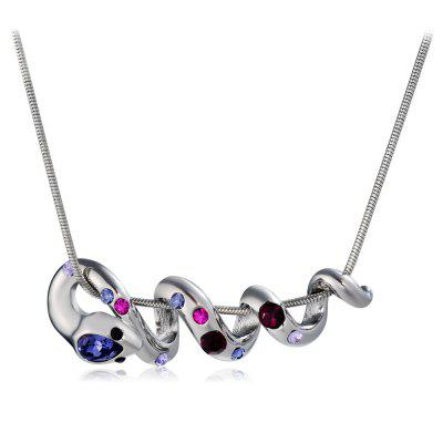 Silver Snake with Colorful Zircon Pendant Necklace