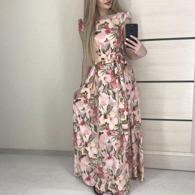 Summer Dress Women'S Bohemian Floral Print Long Elegant Party Dress