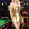 Patent Leather Zipper Lingerie Straps Short Sexy Dress - GOLD