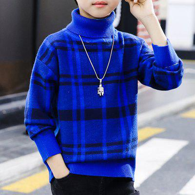 Boys Cuhk Pullover Sweater Sweater Plaid Pattern Fashion Undercoat Thickened