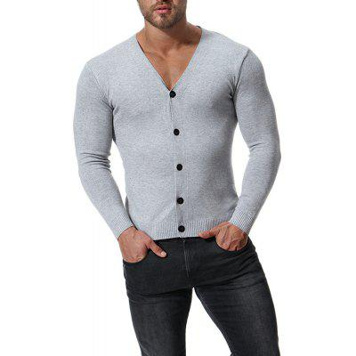 Men's Casual Cardigan V-neck Long Sleeve Sweater