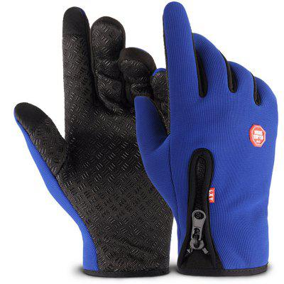 Outdoor Sports Zipper Gloves with Warm and Velour
