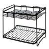 Bathroom Kitchen Double-Deck Iron Art Receiving and Finishing Shelf - BLACK
