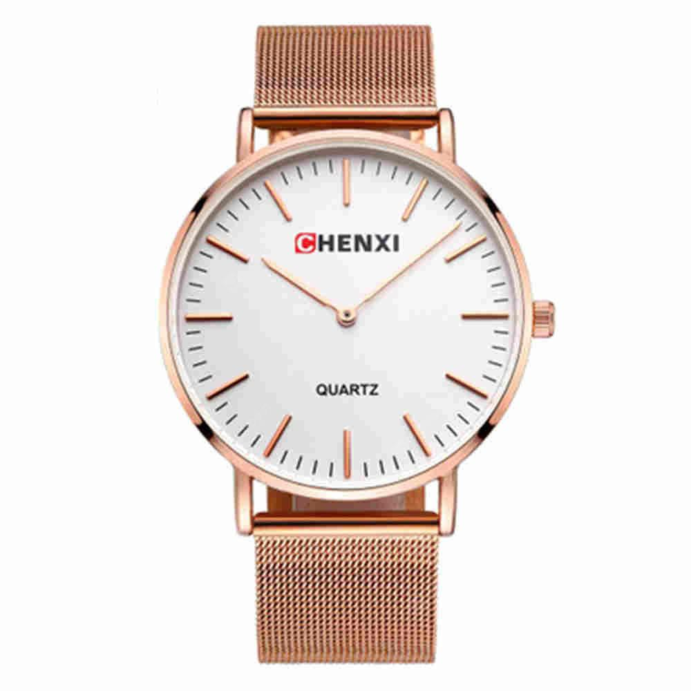 Chenxi Fashion Simple Nail Scale Steel Mesh with Quartz Lovers Watch