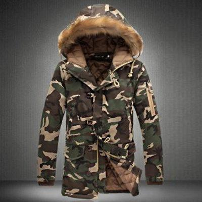 New Man Fashion Full Sleeve with Hooded Collar Fur Trim Casual Camouflage Parka