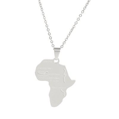 Fashion Personality Africa Map Pendant Necklace Alloy Jewelry Tag Clavicle Chain