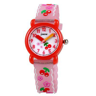 Cute Cartoon Cherry 3D Silicone Strap Waterproof Quartz Watch for Girl