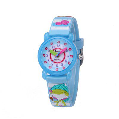 Cute Girl Cartoon 3D Silicone Strap Waterproof Quartz Watch for Kids