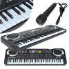 Multifunctional Mini Electronic Piano with Microphone 61 Keys Toy for Children - BLACK