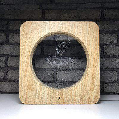 Wood Grain Acrylic Frame Light Colorful 3D Night Light Remote Control Touch