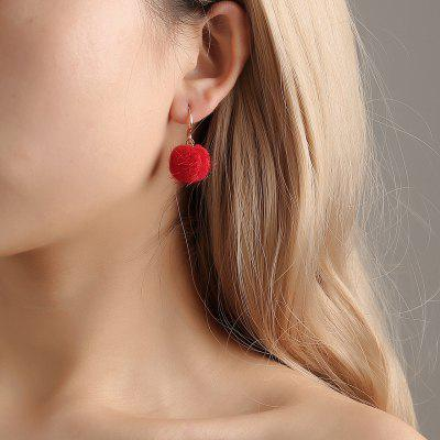 Sexy Red Ball Hair Ball Pendant Earrings