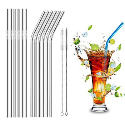 Fashion 4 Pcs Stainless Steel Straw Set with Cleaning Brush