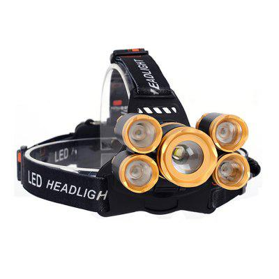 5 LED Headlamp Zoomable Camping Fishing HeadLight Rechargable Focusing