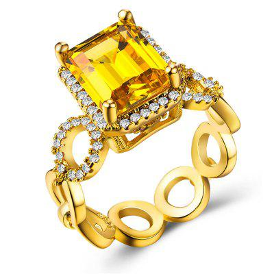 Charhoden Luxury Gold-Plated Ring Set with Zircon Lady'S Ring