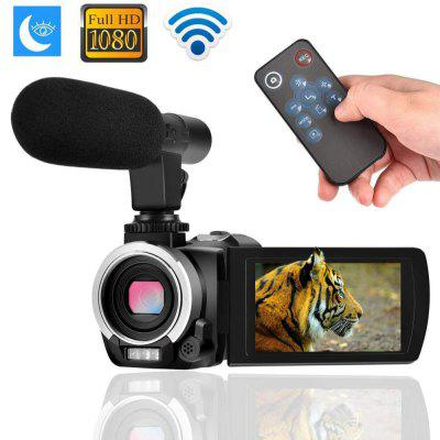 Digital Camera Camcorder Full HD Remote Control with Microphone 2 Batteries