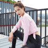 Women's Sports Quick Dry Elastic Soft Long Sleeve Solid Fitness Yoga T-Shirt - PINK