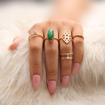 5 PCS/Set Green Red Stone Rings Set Women Gold Wave Crystal Knuckle Rings