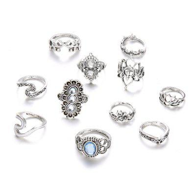 11 PCS/Set Opal Midi Rings For Women Antique Crown Lotus Wave Boho Ring