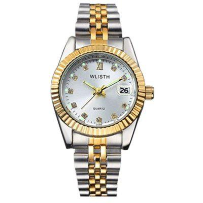 WLISTH Fashion Casual Diamond Calendar Luminous Waterproof Quartz Lovers Watch