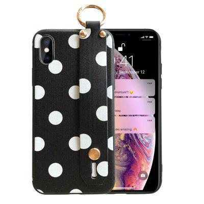 Classic Wave Dot Point Phone Cover Wrist Strap For iPhone XS Soft Case