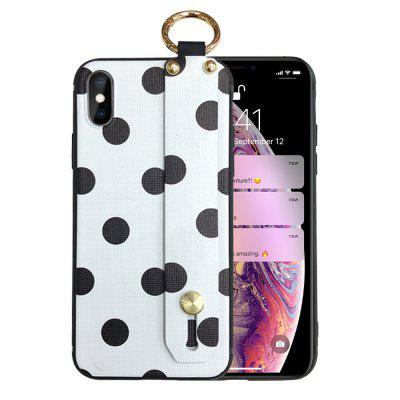 Classic Wave Dot Point Phone Cover Wrist Strap For iPhone XS Max Soft Case