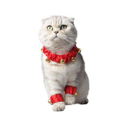 Red New Year's pet soft cloth bell collar dog and cat accessories 3 sets