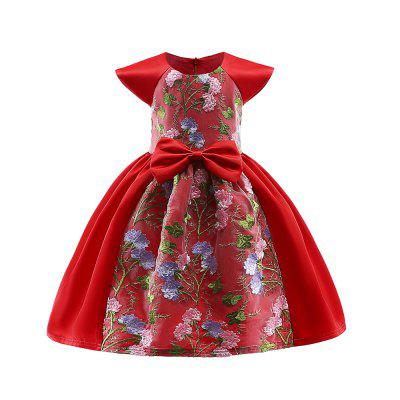 Lace Embroidery Short Sleeve Big Bowknot Elegent Party Princess Dress For Girl