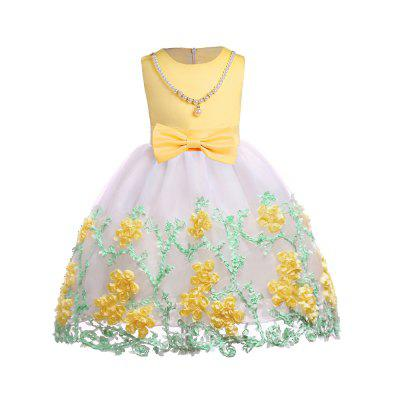 Lace Embroidery Big Bowknot Elegent Party Princess Dress For Girl