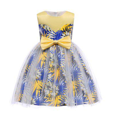Flowers Printing Big Bowknot Elegent Princess Dress For Girl Kids Clothes
