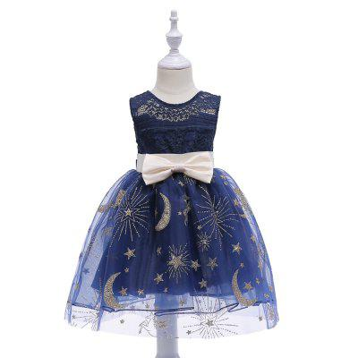Lace Hollow Out Star Moon Glitter Big Bowknot Elegent Party Princess Dress