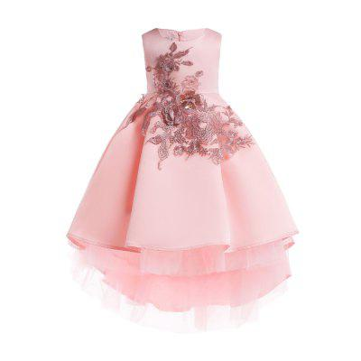 Pleated Skirt Embroidered Lace Elegent Party Princess Dress For Girl