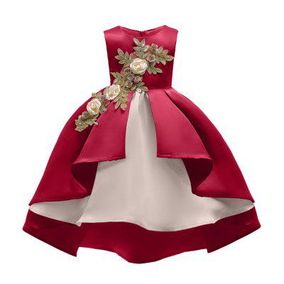 Embroidered Elegent Party Sleeveless Princess Dress For Girl