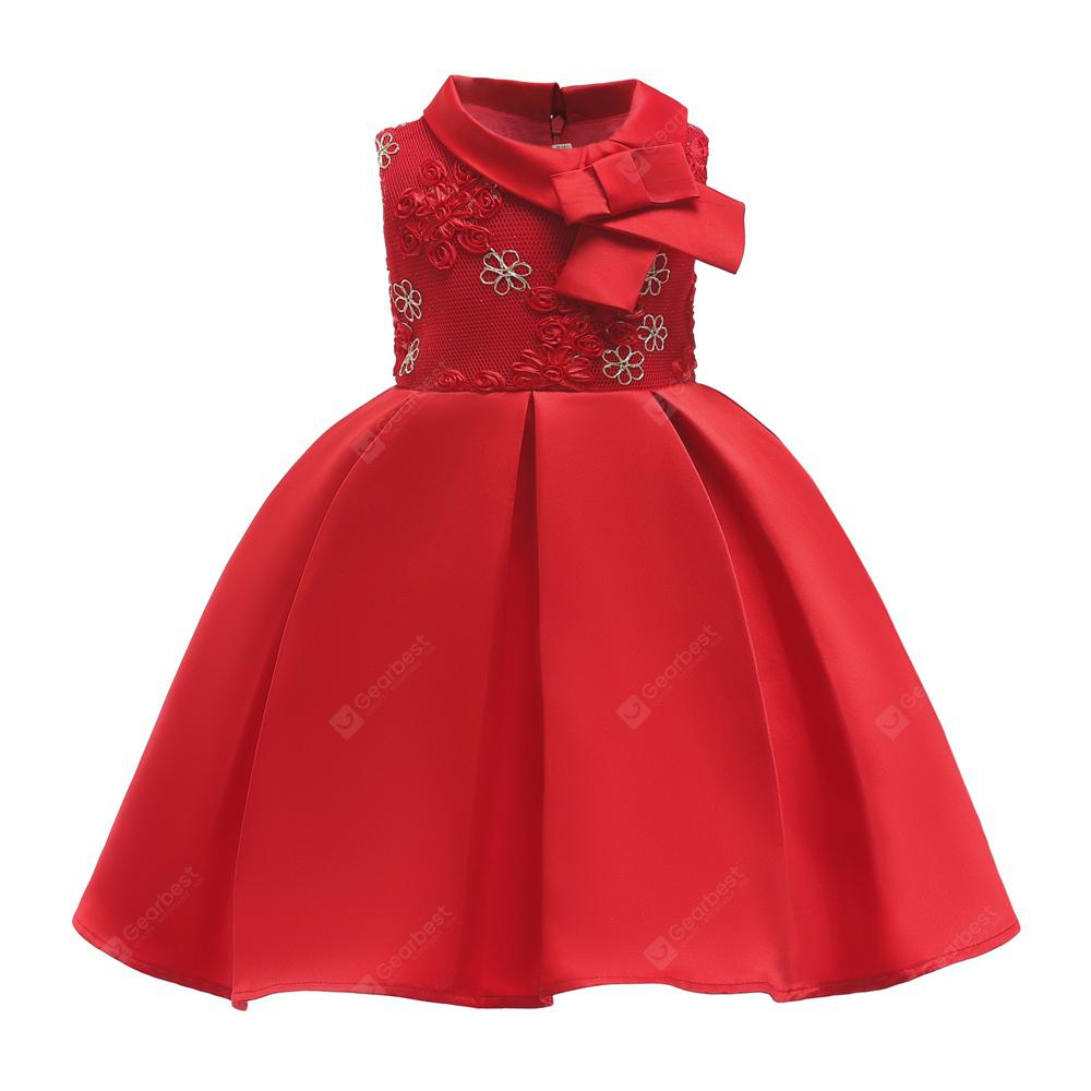 Embroidered Three-dimensional Flowers Elegent Party Princess Dress For Girl