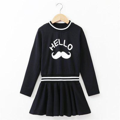 Girls Cotton Long-Sleeved Dress Little Girl Princess Dress