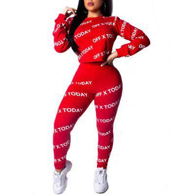 Women's Fashion Sexy Letter Print Short Tops Tight Pants Sports Clothing Sets