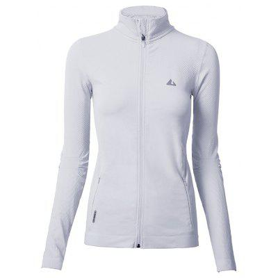 Women Zipper Pocket Small Turtleneck Yoga Jacket Gym Sports Long-sleeve Coat