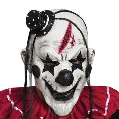 YEDUO  Horrible Scary Clown Mask Adult Men Latex White Hair Halloween