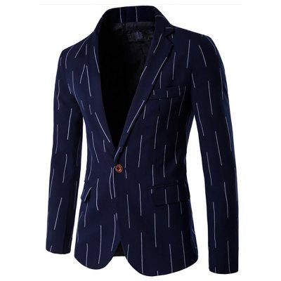 Men's Lapel Stripe Long Sleeve Casual Single Row One Button Suit