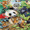 Jigsaw Paper 3D Tiger y Panda Puzzle Block Assembly Birthday Toy - MULTI
