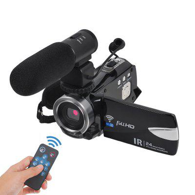 Remote Control Digital Camera Wifi Camcorder Full HD with Microphone 2 Batteries