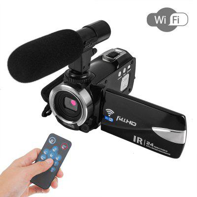 Full HD Digital Camera Wifi Camcorder Remote Control with Microphone 2 Batteries