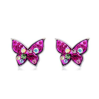 Silver-Plated Rose Red Butterfly with Colored Crystal Earrings
