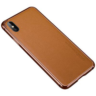 Metal Bumper Frame Case For iPhone X Cover Cowskin Leather Back Film Protector