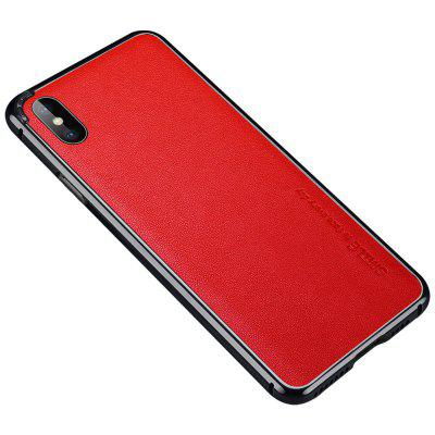 Metal Bumper Frame Case For iPhone XS Max  Cover Cowskin Leather Back Film